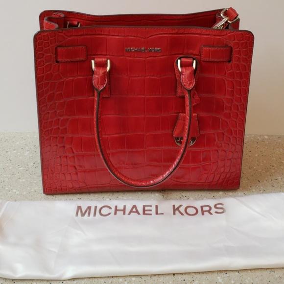 77883a4f830 MICHAEL Michael Kors Bags   Michael Kors Dk Red Embossed Leather ...